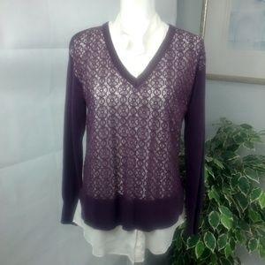 Simply Vera Wang Blouse & Crochet Sweater Med.